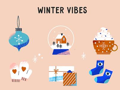 Winter Vibes festive xmas holiday illustration