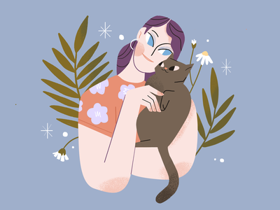 Cat Lover cat character illustration