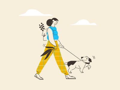 A morning walk pet flat character illustration