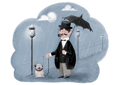 Pug Life character night street london rainy illustration digital pug