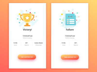 Victory/Failure Screens illustration icons ux ui mobile screens screen failure lose win victory
