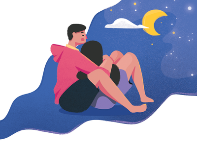 Get Cozy Together illustrator moon night female male character hug love together cozy couple