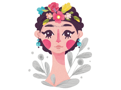 Frida Kahlo portrait editorial flat girl crown flower frida illustration illustrator