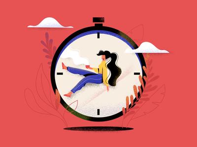 Waiting time clock illustrator character editorial illustration waiting