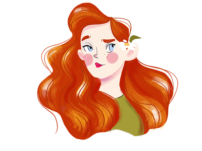Redhead illustrator illustration characterdesign character portrait cute girl redhead