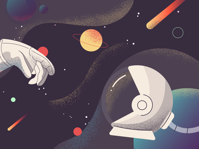 Connection Lost texture flat planet space ui editorial illustrator illustration