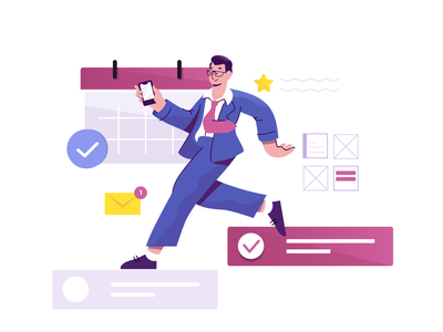 Working  while on-the-go ui editorial character illustrator illustration
