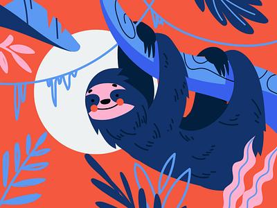 Sloth flat editorial character illustrator illustration