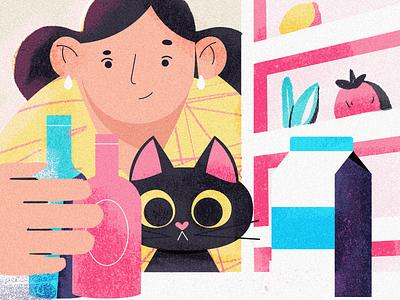 Open the fridge texture flat editorial character illustrator illustration