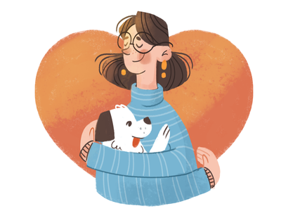Dog Lover illustrator illustration texture heart hug pet love dog