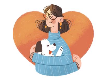 Dog Lover illustrator illustration texture heart hug pet love dog