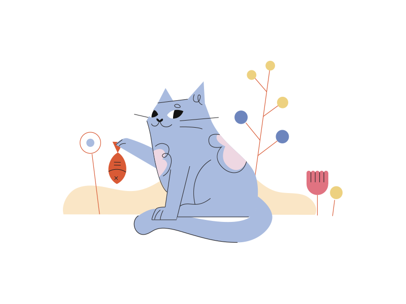Cat vector flat editorial character illustrator illustration