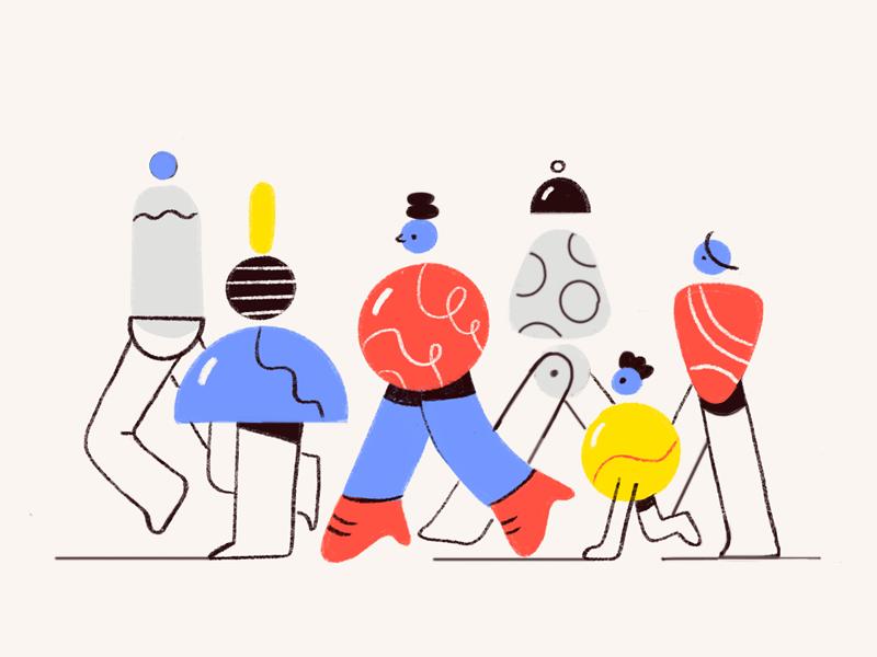 Crowd procreate illustration