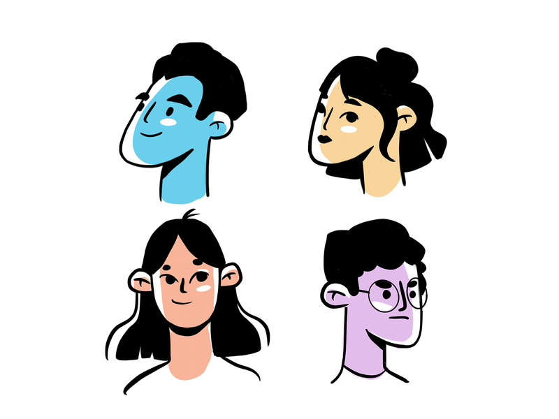 Faces flat editorial illustrator character illustration