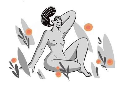 Calm nude woman illustrator procreate character illustration