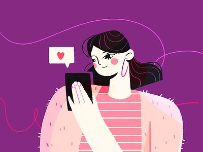 Texting valentines message love illustration