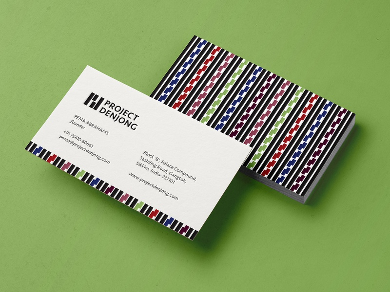 project denjong cards branding design branding and identity branding colouful black and white stationary design visiting card business card logo design india sikkim pattern design pattern