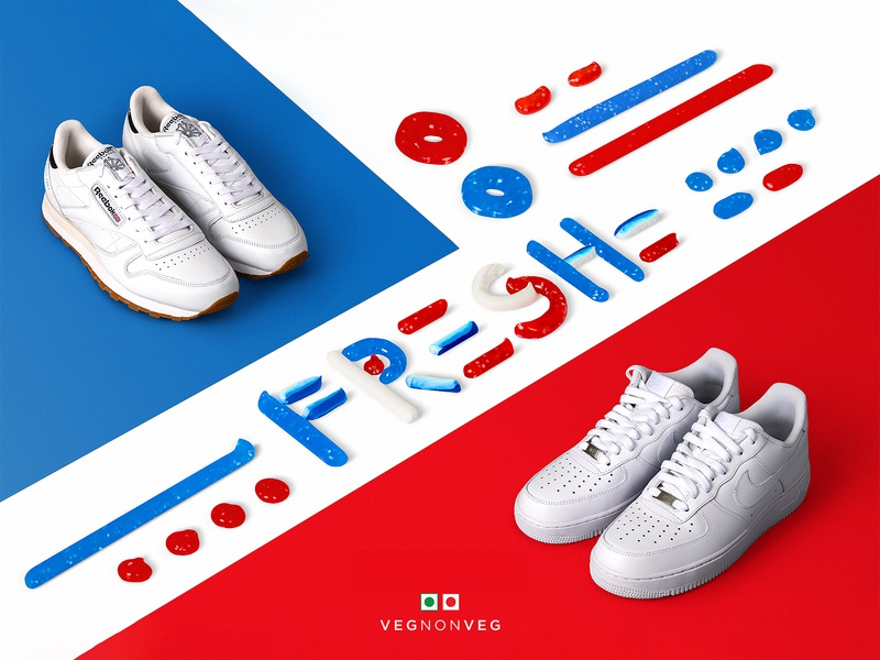 VNV fresh classic hand drawn rbk reebok shoes sneakers fresh toothpaste red blue illustration india