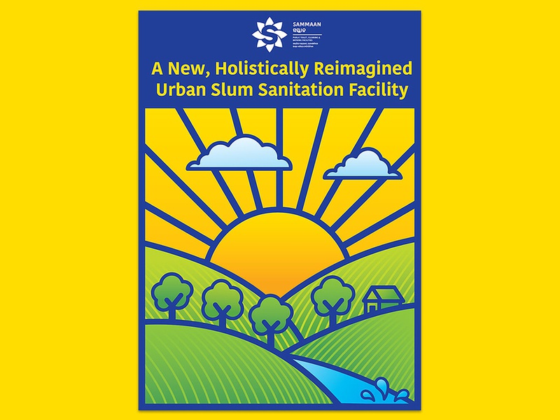 Sammaan poster sanitation sunlight mountains village water cleanliness clean trees clouds sun poster art poster design illustration art branding and identity blue branding design vector branding illustration india