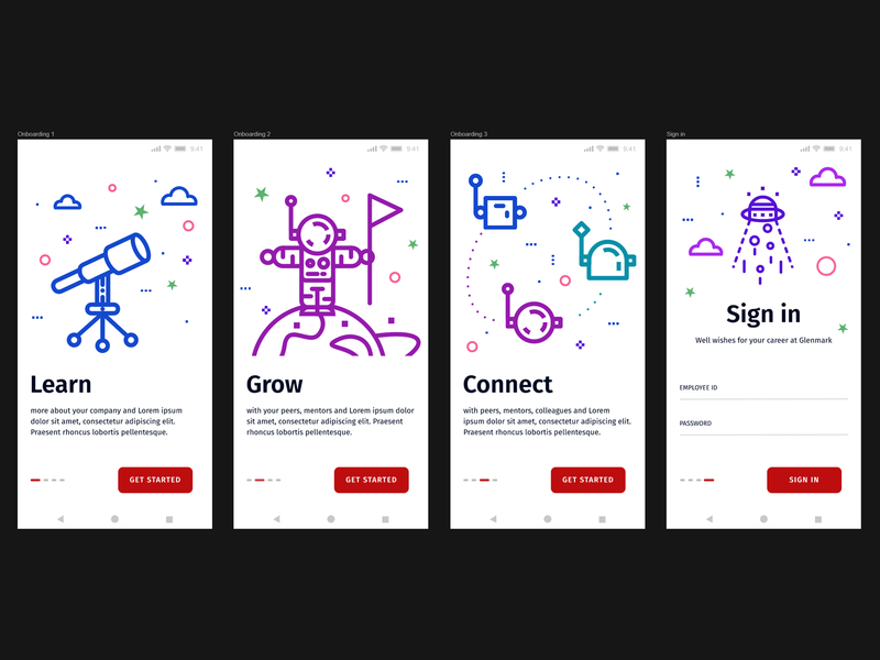 E-Learning App Onboarding + Illustrations user interface designer user experience onboarding screen ufo astronaut telescope planet space onboarding illustration illustrations onboarding ui onboarding user interface ui  ux ui design ui vector illustration india
