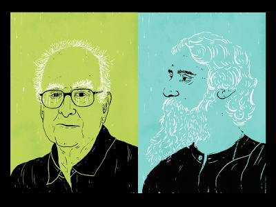 Higgs and Tagore for British Council british council illustration artist duotone black blue green peter higgs rabindranath tagore drawingart illustration art illustrator indian illustrator drawing illustration india