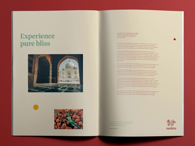 Brochure layout for Tushita Travels holi taj mahal india book publications print design book layout book publication design brochure magazine layout publication branding design branding and identity branding india