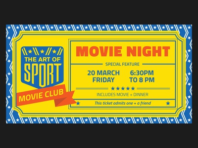 Ticket for Movie night film club movie club stripes stars blue yellow branding film screening screening sport movie ticket