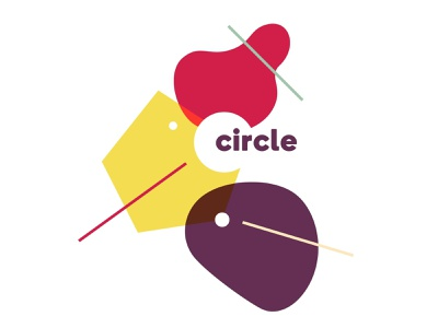 Circle Co-working identity design innovation collaboration yellow red shapes dynamic identity co-working coworking india branding indian designer identity logo design branding and identity branding design branding india