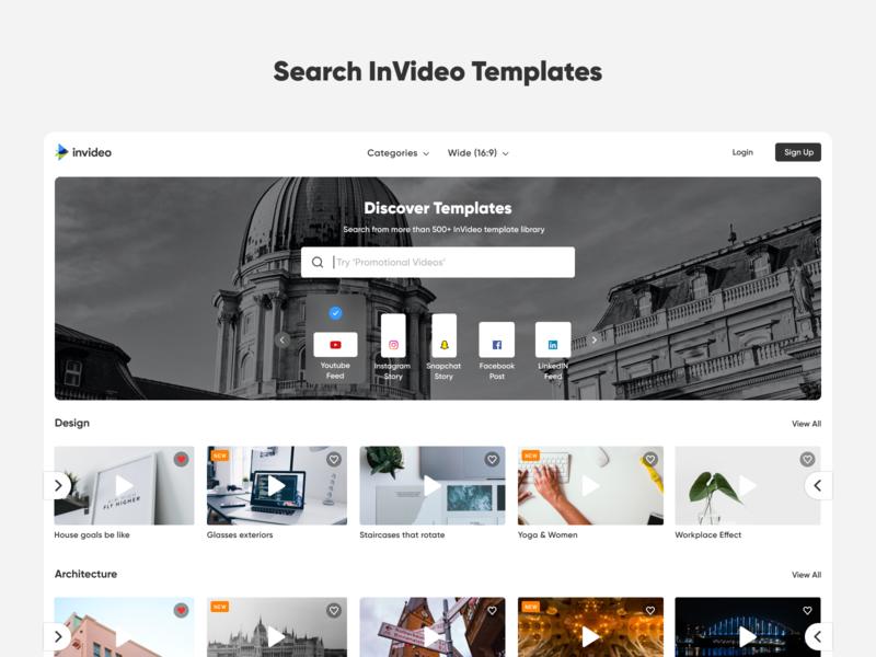 Search InVideo Templates searchbar search templates editor video editor video card ux ui minimal design