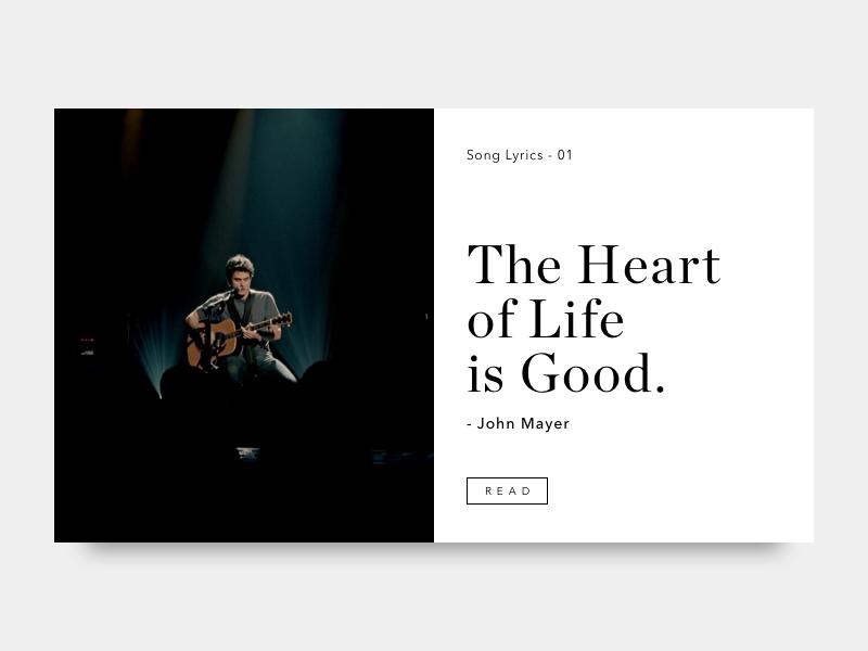 Song Lyrics 01 design serif minimal card article blog