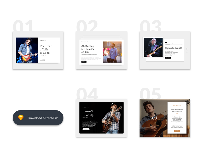 5 blog article cards  music