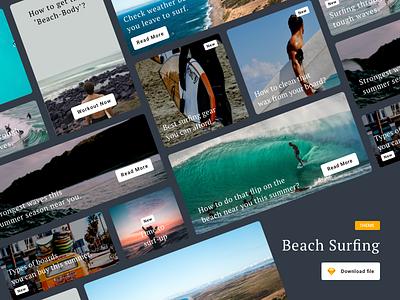 Beach Surfing Article Cards beach surfing surfing beach surf design blog article