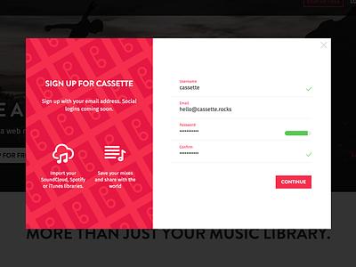 Sign Up for CASSETTE cassette onboarding sign up