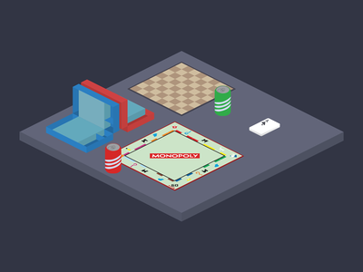 GAMENIGHT Table isometric party games board gamenight