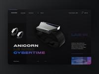 Neumorphic Anicorn Watches desktop app - dark mode