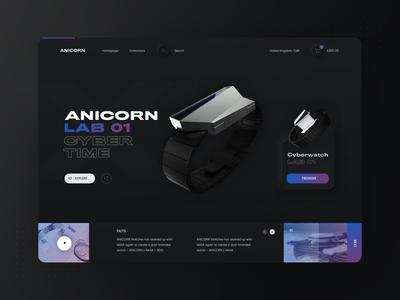 Neumorphic Anicorn Watches desktop app - dark mode v2