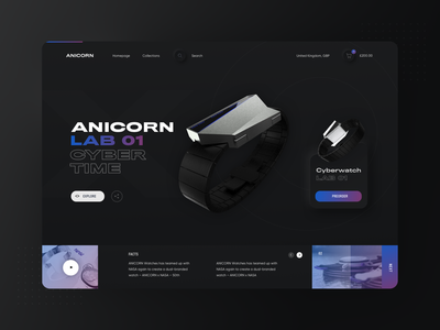 Neumorphic Anicorn Watches desktop app - dark mode v2 ecommerce watches skeumorphic darkui darkmode neumorphism neumorphic typography modern ux ui