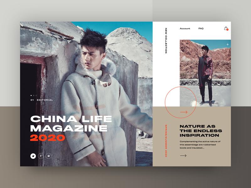 Carine fashion store - China Life Magazine 2020 v2 webdesign web layout fashion clean typography modern ux ui