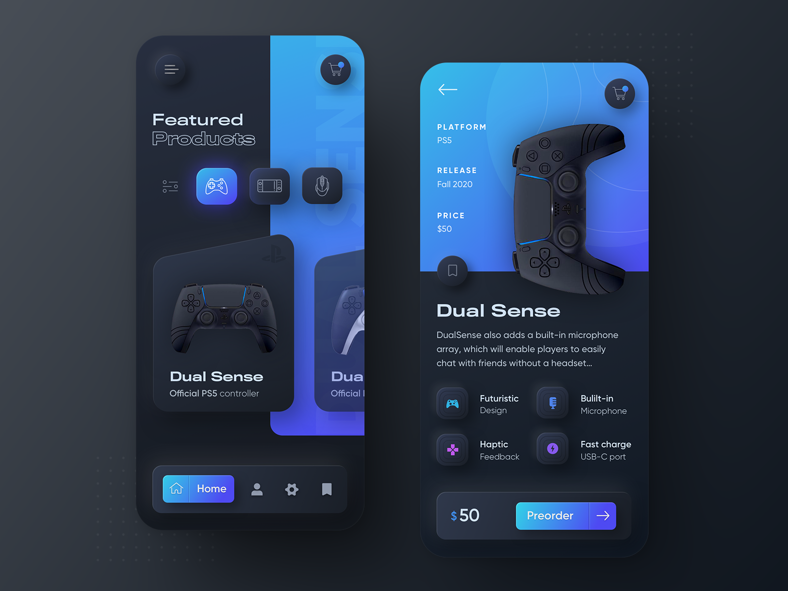 Playstation 5 Dualsense Neumorphic Mobile App Dark Version By Dawid Tomczyk On Dribbble