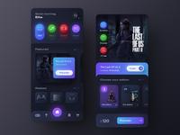 The Last of Us Part 2 - Neumorphic mobile app concept appmobile darktheme playstation videogame gradient gameui gameapp skeuomorphism neumorphism neumorphic darkmode darkui typography modern ux ui
