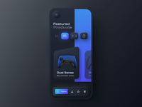 Playstation 5 DualSense 3D Neumorphic mobile 3D app animation gameapp playstation darktheme darkmode dark ui interaction cinema4d aftereffects 3danimation 3d neumorphism neumorphic modern ux ui