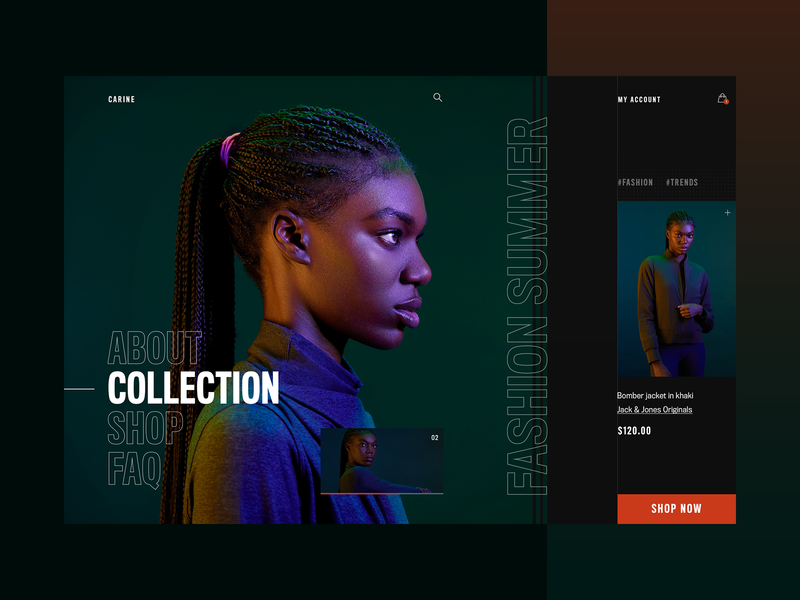 Carine fashion store - summer campaign layout fashion clean typography modern ux ui