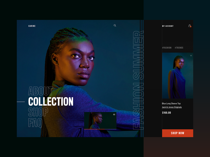 Carine fashion store - summer campaign v2 webdesign web layout fashion clean typography modern ux ui