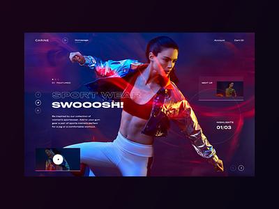 Carine fashion store - Swooosh sport wear sport darkmode dark fashion clean typography modern ux ui