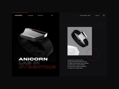 Anicorn Watches - Landing Page Animation Concept paralax animation principleformac principle app principle dark app dark mode typography modern ux ui