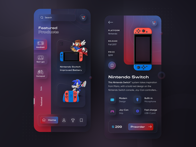 Nintendo Switch - Glassmorphic & Neumorphic mobile app 2021 gradient dark ui gaming gameui glassmorphism neumorphism ui neumorphic neumorphism ux ui