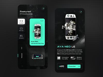 AYANEO Handheld gaming - mobile app concept gameui game dark mode dark ui neumorphism neumorphic glassmorphism glassmorphic modern ux ui