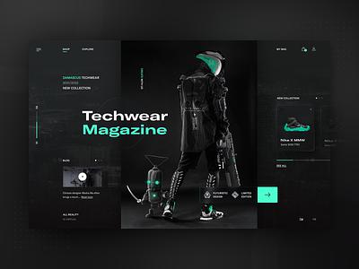 Damascus Techwear Apparel 2021 - web redesign concept mondrianizm layout neumorphism clothing darkmode darktheme neumorphism ui neumorphic dark ui clean typography modern ux ui