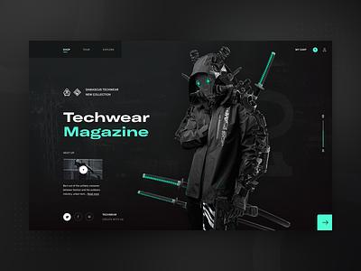 Damascus Techwear Apparel 2021 - web redesign concept v2 neumorphic neumorphism techwear darkui layout fashion typography modern ux ui