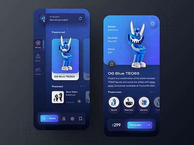 BulletPunk toy shop app concept designtrend mobileapp darkui neumorphism toyshop darkmode neumorphic typography modern ux ui